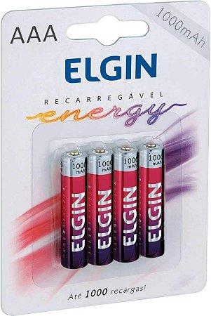 Pilha Recarregável AAA 1000mah (Blister c/4) - Elgin