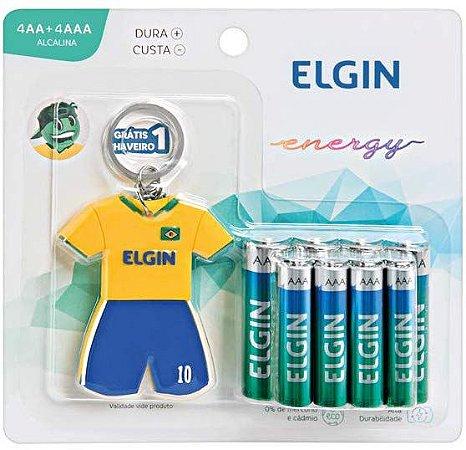 Kit 4 Pilhas AA + 4 Pilhas AAA + Chaveiro Copa do Mundo - Elgin