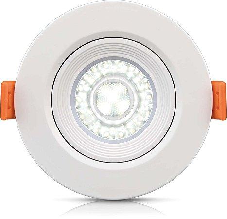 Spotlight Ecospot Dicroica Led embutido redondo 5W 6000K biv direcionável c/ lente - ELGIN