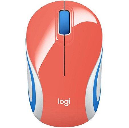 Mini Mouse Logitech M187 Sem Fio 1000DPI - 910-005362 Coral - Logitech