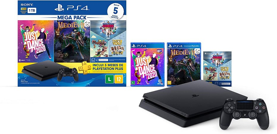 Console PlayStation 4 1TB Bundle V11 Just Dance 2020, Medievil, Knowledge is Power+Frantics+That's You! CUH-2214B - Sony