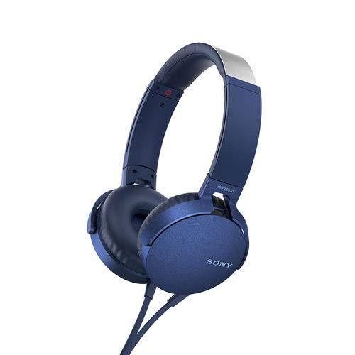 Headphone Dobrável Com Microfone Sony Mdr-Xb550 - Azul