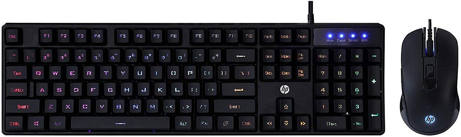 Kit Teclado + Mouse Gamer HP KM200, 2400dpi, RGB, ABNT2 7JH33AA#AC4 - HP