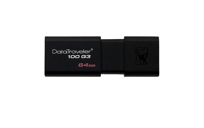 Pen Drive Kingston DataTraveler USB 3.0 DT100G3/ 64GB Preto - Kingston