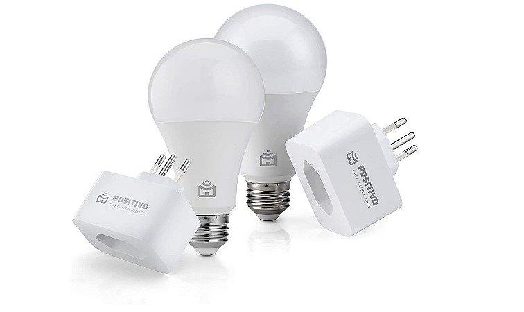 Kit Casa Eficiente, Positivo Casa Inteligente (2 Smart Lâmpadas Wi-Fi + 2 Smart Plugs Wi-Fi), Compatível com Alexa - Pos