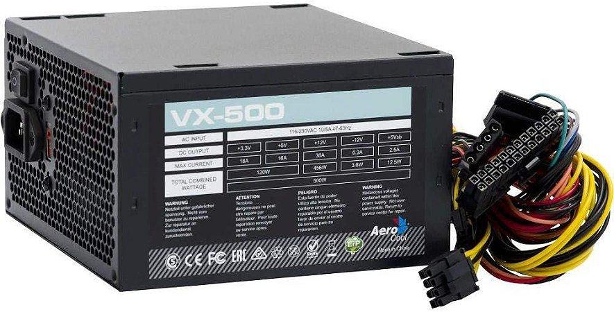 Fonte ATX Aerocool 500w s/ cabo VX-500 Bivolt - Aerocool