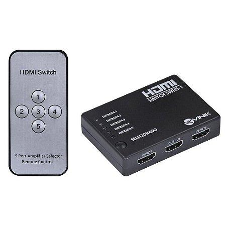 SWITCH HDMI 5 ENT 1 SAIDA 1.3V 3D 1080P - VINIK