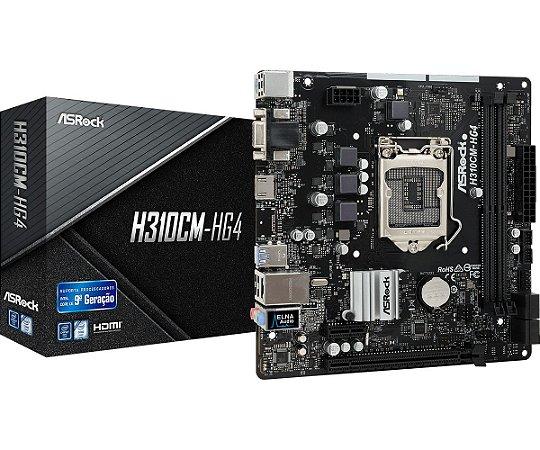 Placa Mãe Intel ASRock H310CM-HG4 Socket 1151 DDR4 2666 VGA HDMI - ASRock