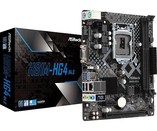 Placa Mãe Intel ASRock H81M-HG4 R4.0 Socket 1150 DDR3/DDR3L 1600 DC VGA HDMI - ASRock