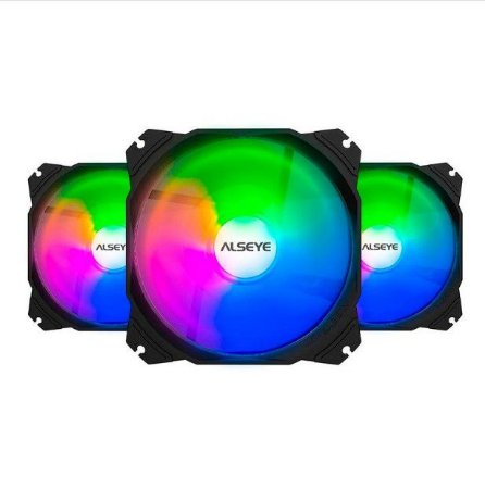 Cooler Kit 3 Fans Gabinete 120x25mm Rgb M120-P KIT Max Series - Alseye