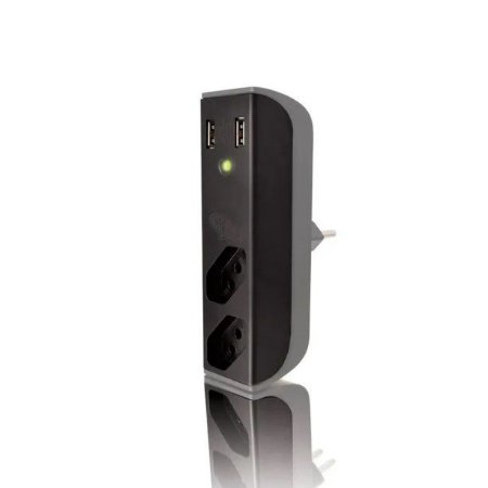 Carregador Usb Com Filtro Bem Ligado 2 Tomadas FL-USB21GBK Preto - Coletek