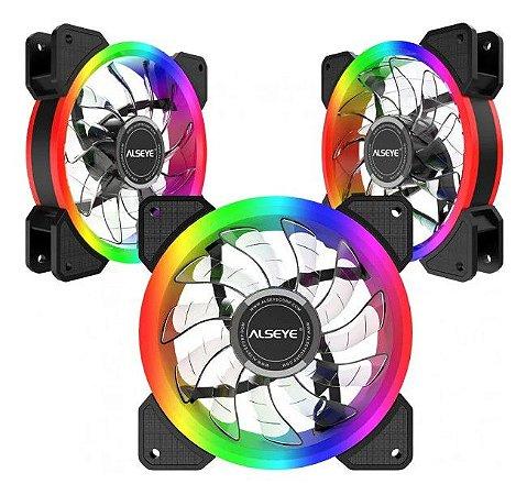 Cooler Kit 3 Fans Gabinete 120x25mm Led Rgb D-Ringer - Alseye