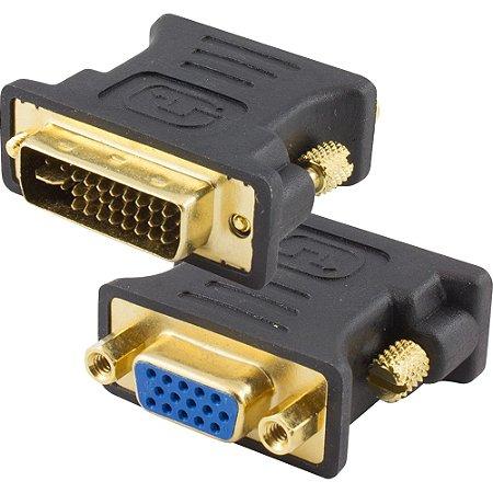 Adaptador DVI Dual Link Macho 24+5 para VGA Fêmea Preto - Storm