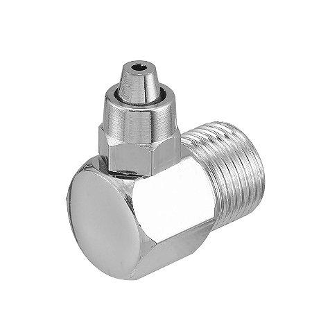 """Cotovelo Adaptador Metal P/ Filtro Geladeira e Purificador De Água Mangueira 3/8"""" (9,5mm)"""