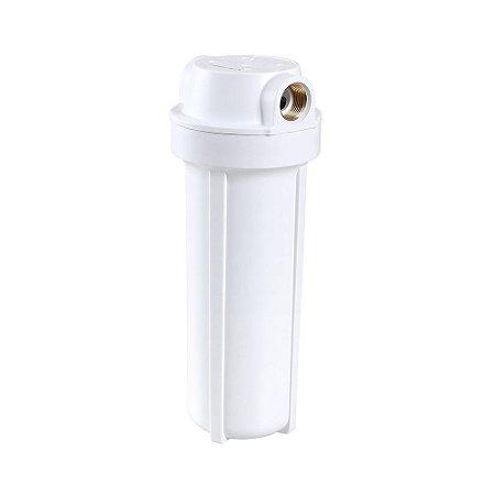 "Carcaça Branca para Filtros de Água STD 2,5""X9.3/4"" - Rosca de Metal 3/4"""