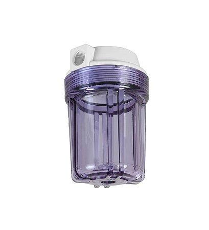 """Carcaça Transparente 5"""" para Filtros - Rosca 1/2"""" (S/ Refil)"""