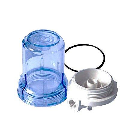 """Carcaça Transparente 5"""" para Filtros - Rosca 1/2 (Sem Refil)"""