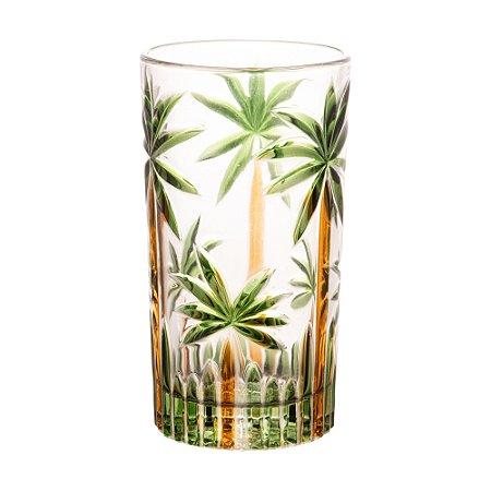 Conjunto  6 Copos Altos Cristal de Chumbo Palm Tree Handpaint  360ml Wolff