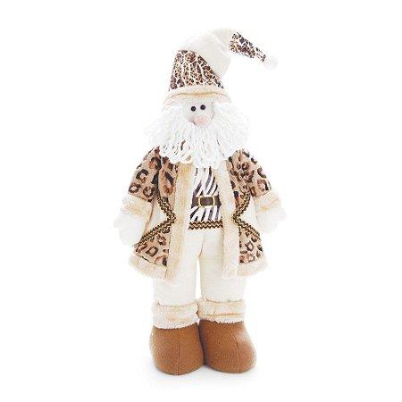 Papai Noel Em Pé Com Sobretudo Marrom/Marfim 55cm (Safari) 1un. Cromus