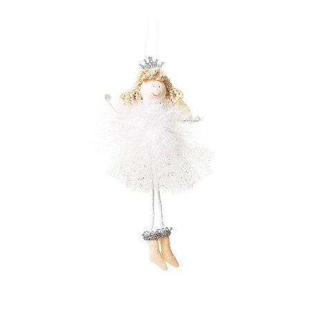 Anjo Com Coroa e Vestido Branco e Prata P (Dolls) 1Un Cromus