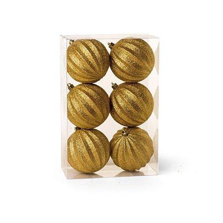 Bolas de Natal com Gomos e Glitter Ouro 8cm 6Pçs Cromus