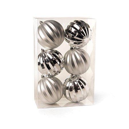 Bolas de Natal c/ Gomos Brilho e Prata 10cm 6Pçs Cromus