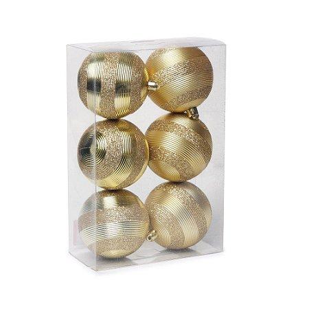 Bolas de Natal com Listras e Gliter Ouro 8cm / 6Pçs Cromus