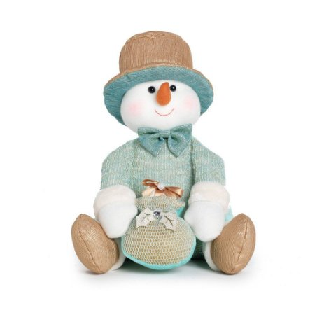 Boneco de Neve Sentado c/ Saco de Presente Natal 1Un. Cromus