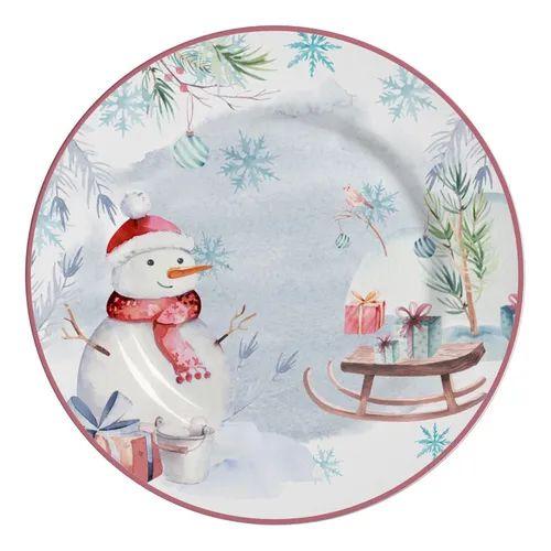 Jogo de Prato Raso Snowman 10 Classific. 6 Unidades Alleanza