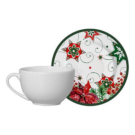 Jogo de Xícara de Chá com Pires Natal 10 Classific. 6 Unidades Alleanza