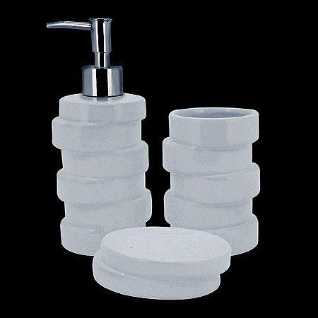 Jogo De Banheiro Ivory White 3pçs Mimo Style