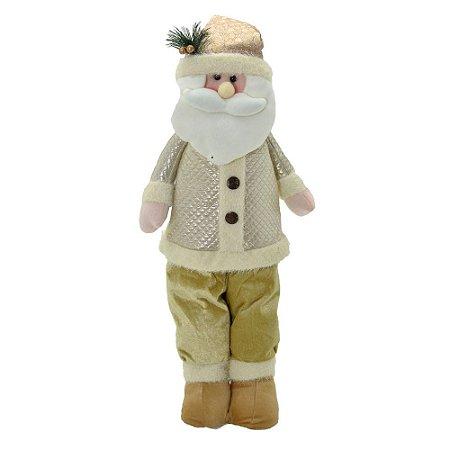 Papai Noel Em Pé Decorativo Branco / Ouro Natal Mabruk