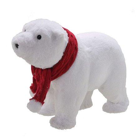 Urso Polar Natalino G Com Gorro Vermelho Natal Mabruk