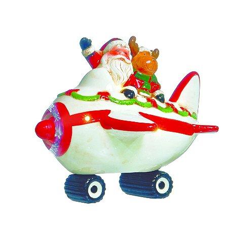 Papai Noel E Rena No Avião Bibelot Luzes Mov. Natal Cromus