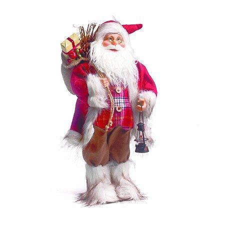Papai Noel Saco De Brinquedos Vermelho Xadrez Natal Cromus