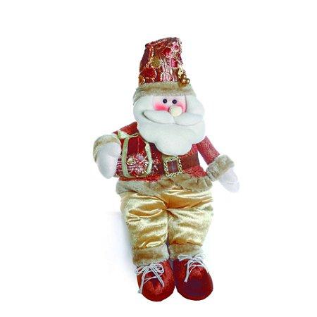 Papai Noel Em Pé Cobre Com Presente Hawai 75cm Natal Cromus