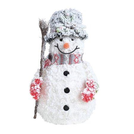Boneco de Neve Natalino Led Branco Snowman Natal Cromus 1un