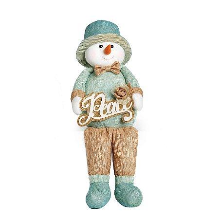 Boneco de Neve Natalino Perna Comprida Azul M Natal Cromus