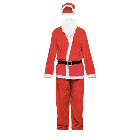 Fantasia Roupa Papai Noel Branco Vermelho Natal Cromus