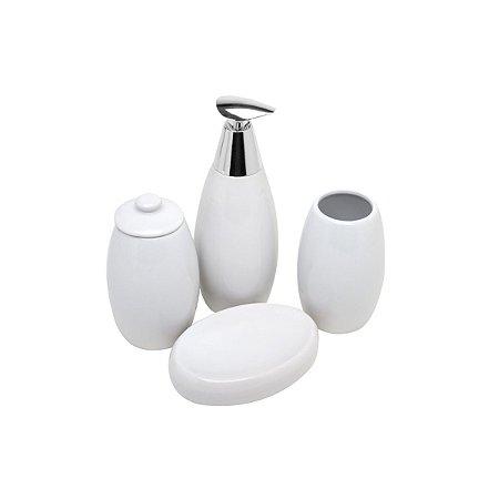 Kit 4 Peças Para Banheiro Branco White Cerâmica Rojemac