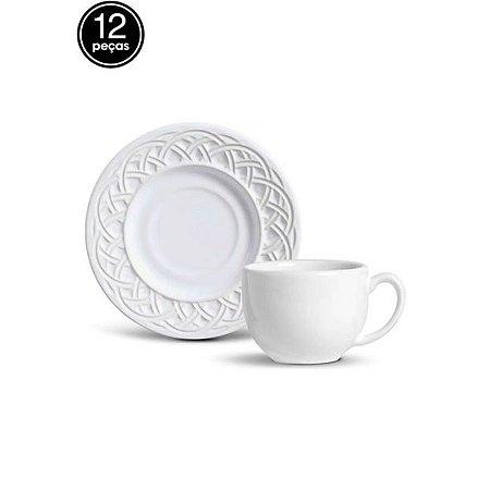 Conjunto xicara de chá com Pires cestino branco Porto Brasil