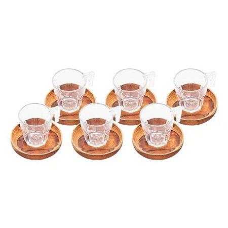 Conjunto de 6 Xicaras de Café com pires de Madeira Teca 75ml