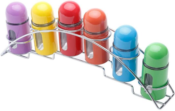 Conjunto de 6 Portas Temperos Coloridos de Aço Inox 33x6x14cm