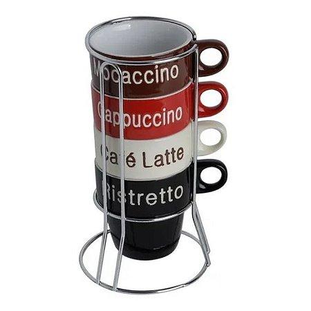 Conjunto de 4 Xicaras Café Porcelana com Suporte Names Colorido 70ml