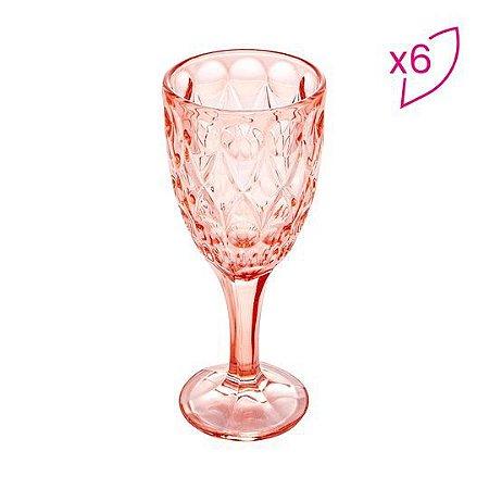 Conjunto de 6 Taças Cristal Angel Rosa 245ml Wolff