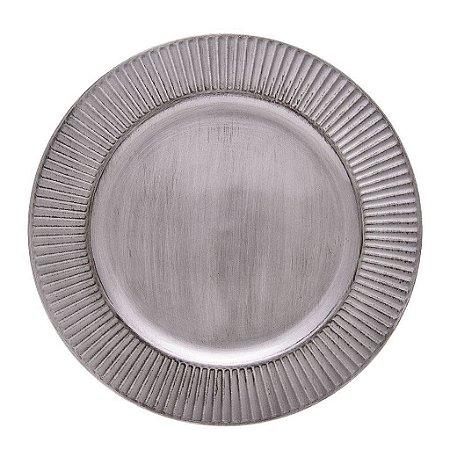 Sousplat Galles Radial Silver Cinza Antique Copa e Cia
