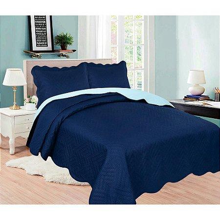 Cobre Leito Colcha Lisa Queen Azul Escuro 2,4x2,6 Sultan
