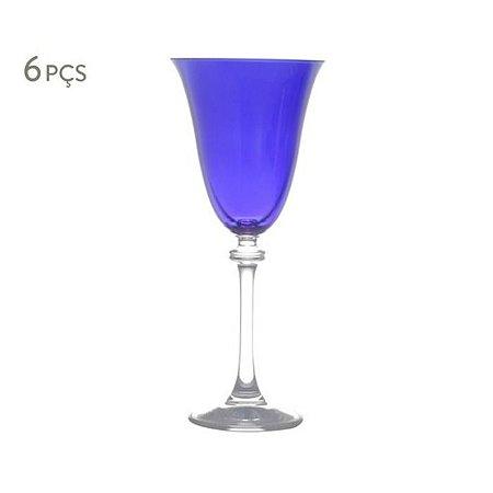 Conjunto de 6 Taças Cristal para Vinho Tinto Alexandra Azul 250ml Bohemia