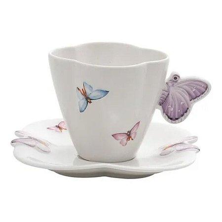 Conjunto de 6 Xicaras Chá Porcelana com pires Borboletas 200ml Wolff
