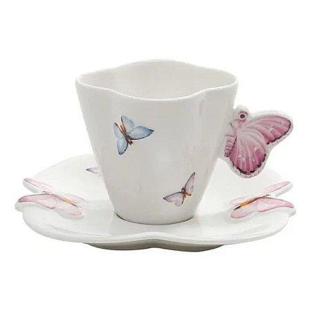 Conjunto de 6 Xicaras Café Porcelana com Pires Borboletas 100ml Wolff